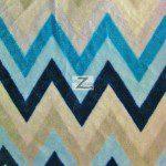 Chevron Zig Zag Microfleece Fabric Aqua
