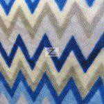 Chevron Zig Zag Microfleece Fabric Blue
