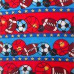 Fleece Printed Fabric Sports Mix Sports Ball Stripes