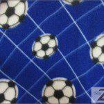 Soccer Print Polar Fleece Fabric Blue Soccer Net