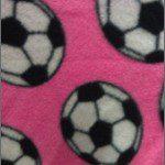 Soccer Print Polar Fleece Fabric Pink