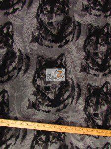 Baum Textile Mills Fleece Printed Fabric Wolf Pewter