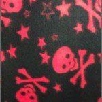 Fleece Printed Fabric Skull Bones Black Red Stars & Skulls