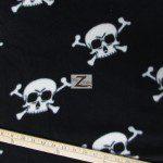 Fleece Printed Fabric Skull Bones Black White Skulls