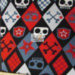 Fleece Printed Fabric Skull Bones Checkered Skull & Bones Black By David Textiles