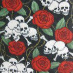 Fleece Printed Fabric Skull Bones Rose & Thorns