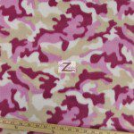 Camo Print Fleece Fabric By The Roll White Khaki Pink