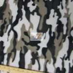 Camo Print Fleece Fabric By The Roll White Silver Black