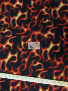 Flame Print Polar Fleece Fabric Roll Black Orange