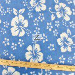 Fleece Printed Fabric Flower Hawaiian Baby Blue