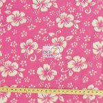Fleece Printed Fabric Flower Hawaiian Pink