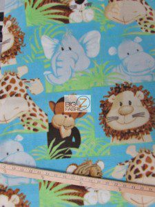 Fleece Fabric By The Roll Animal Jungle Aqua