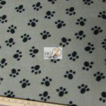 Paw Print Fleece Fabric By The Roll Gray