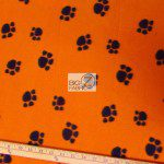Paw Print Fleece Fabric By The Roll Orange