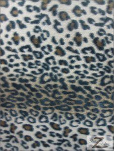 Fleece Printed Fabric Animal Brown Snow Leopard Roll