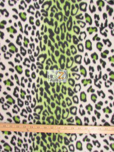 Fleece Printed Fabric Animal Green Snow Leopard Roll