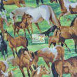 Family Horses Wholesale Fleece Fabric