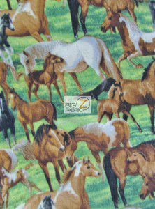 Family Horses Wholesale Fleece Fabric