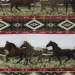 Indian Stripes Horses Wholesale Fleece Fabric