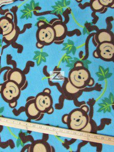 Wholesale Monkey Fleece Fabric Sky Blue Vine