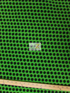 Wholesale Polka Dot Fleece Fabric Neon Green Black Dots