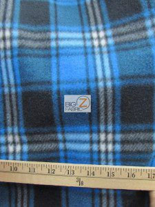 Wholesale Tartan Plaid Fleece Fabric Blue Black White