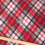 Wholesale Tartan Plaid Fleece Fabric Green Red