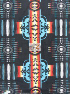 Aztec Indian Navajo Polar Fleece Fabric Black