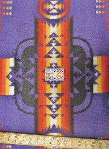 Aztec Indian Navajo Polar Fleece Fabric Purple