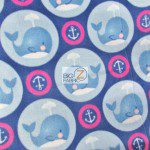 Baby Animal Fleece Fabric Anchor Whales Fuchsia Blue