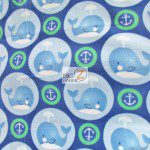Baby Animal Fleece Fabric Anchor Whales Green Blue
