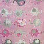 Baby Animal Fleece Fabric Elephants Pink