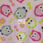 Baby Animal Fleece Fabric Owls Pink