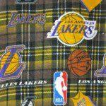 NBA Polar Fleece Fabric Los Angeles Lakers Plaid