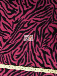 Zebra Print Fleece Fabric Fuchsia