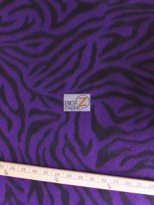 Zebra Print Fleece Fabric Purple Roll