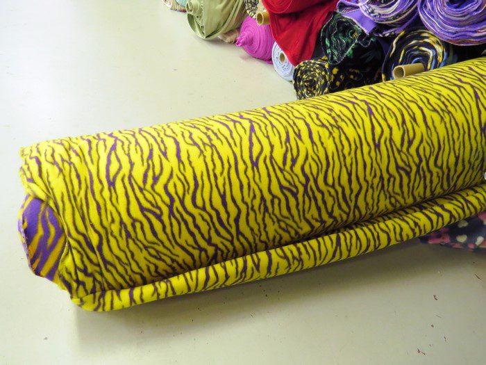 Wholesale Zebra Print Fleece Fabric Yellow/Purple