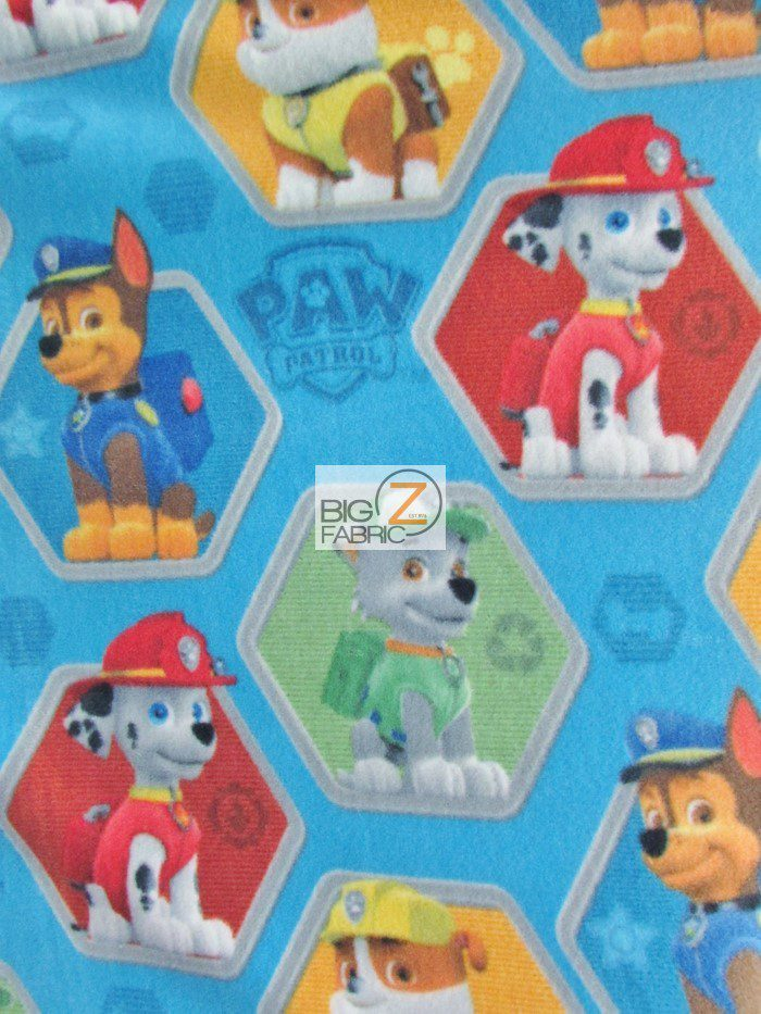 PAW Patrol Characters Blue Fleece Fabric