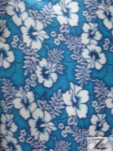 Wholesale Hibiscus Flower Fleece Fabric Blue