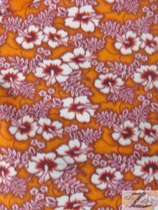 Wholesale Hibiscus Flower Fleece Fabric Orange