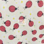 Wholesale Ladybugs Fleece Fabric Beige