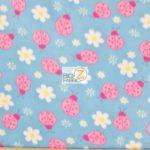 Wholesale Ladybugs Fleece Fabric Blue