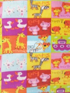 Baby Style Polar Fleece Fabric ABC Zoo Animals