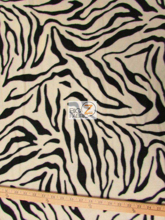 Zebra Polar Fleece Fabric White