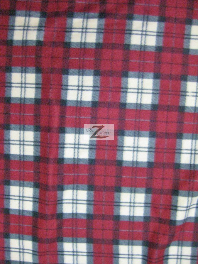 Dark Red/Cream/Gray Tartan Plaid Polar Fleece Fabric
