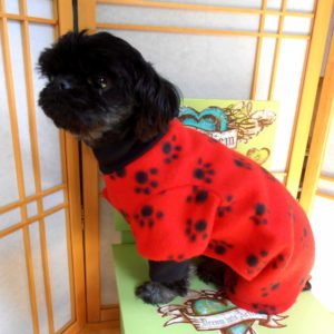 Fleece Paw Print Dog Coat