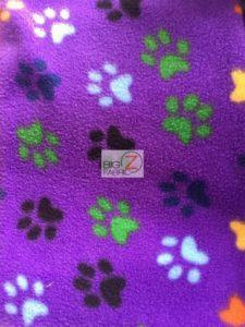Wholesale Paw Polar Fleece Fabric Purple