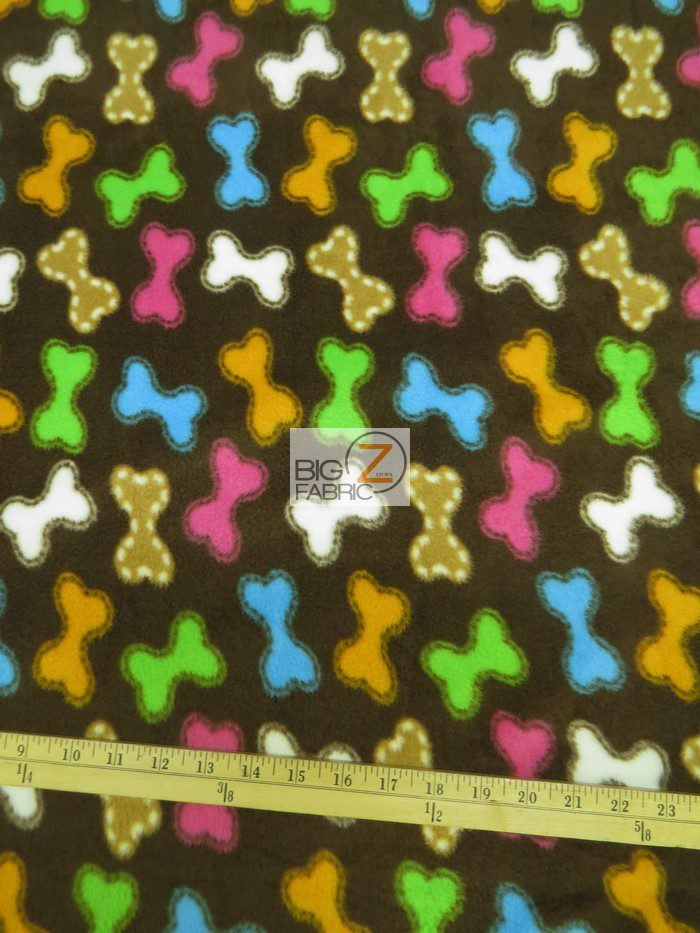 Dog Bone Treats Rainbow Polar Fleece Fabric