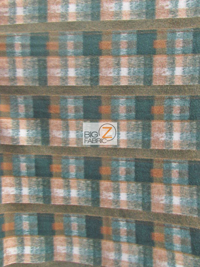 Forest Green/Brown Tartan Plaid Polar Fleece Fabric