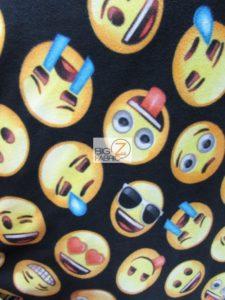 Emoji Polar Fleece Fabric Black